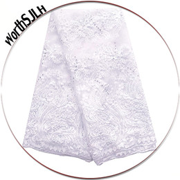 Wholesale white bridal lace fabric for sale - Group buy Bridal White Lace Fabrics For African Parties Embroidered Guipure Lace Fabric Peach African Lace Fabric High Quality
