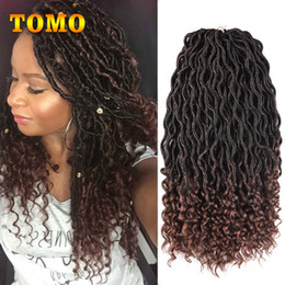 curly ombre crochet hair 2018 - TOMO 18Inch Goddess Faux Locs Curly Kanekalon Synthetic Crochet Dreadlocks Ombre Hair Extensions For African American Wo