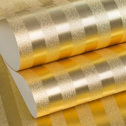 Discount embossed foil paper - PVC Wallpaper Gold Foil 3D Embossed Vertical Stripe Environmental Protection Wallpaper Hotel KTV Bar Entertainment Place