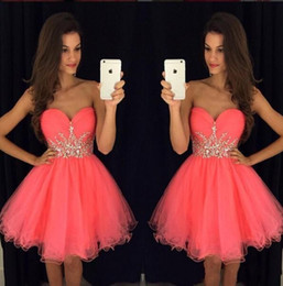 Chinese  New Arrival Water Melon Crystals Rhinestones Short Tulle Homecoming Prom Dresses 2019 Strapless Sweet 16 Graduation Mini Cocktail Dresses manufacturers