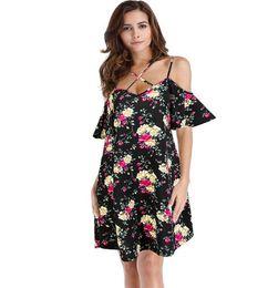 22cca08e1756 Loose Casual Short Strapless Dresses Canada - Casual Dresses Cris Cros Print  Floral Women Dress Cold