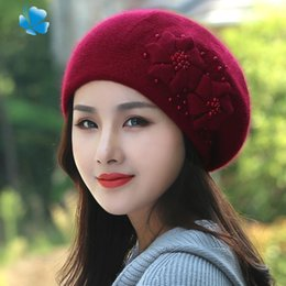 62eed9c695c Fashion Winter Keep Warm Beanie Elastic Double Layer Thicken Rabbit Fur Hats  Hanmade With Flower Pearl Berets For Women 43yj BB