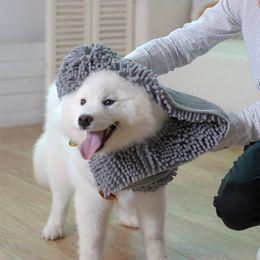 $enCountryForm.capitalKeyWord Australia - Chenille Dog pet Cat Microfiber Bath Towel With Hand Pockets Bathrobe Absorbent Dog Hair Dry Towel For Dogs Quick Drying 2 Sizes