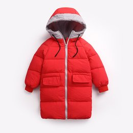 Discount warm weather clothes - Hot Snow Weather Winter New Children Warm Outerwear Clothing Thick Long Hooded Fashion Coat Kids Boy Girls Down & Parkas