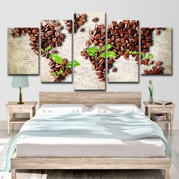 Discount oil painted maps - Canvas Wall Art Pictures HD Prints Living Room 5 Pieces Coffee Bean Green Leaf Paintings World Map Posters Home Decor