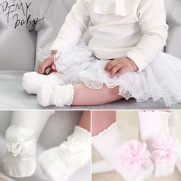 Beautiful Infants NZ - Princess Girls Baby Socks Beautiful Flowers Design Cotton Infant Jumpsuit Baby Socks 2Colors