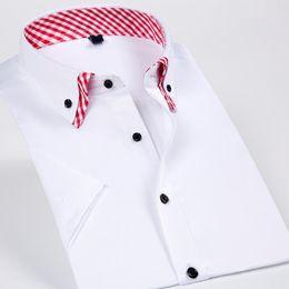 $enCountryForm.capitalKeyWord Australia - Double Collar Men Short Sleeves Dress Casual Shirt Solid Color Business Male Social Shirts Black Button Design 2018 New