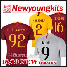 army uniforms 2019 - 2018 19 ROMA home soccer Jersey 18 19 away gray third yellow Football uniforms EL SHAARAWY MANOLAS DZEKO DE ROSSI NAINGG