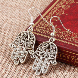 wholesale hamsa earrings Canada - Hamsa Hand Earrings Vintage Punk Hollow Out Kabbalah Hand Earrings Women Fish Ear Hook Dangle Chandelier Earrings