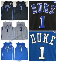 Discount college shirts Mens Duke Blue Devils Harry Giles College Basketball Jersey Cheap New Blue Black 1 Harry Giles Stitched Basketball Shirt