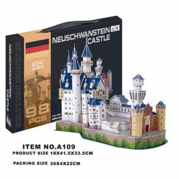 plastic toy castle building blocks 2019 - Building Block Classic Jigsaw 3D Puzzle Germany Castle Enlighten Construction Brick Toys Scale Models Sets Educational P