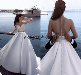 Simple white engagement dreSS online shopping - Sexy See Through Wedding Gowns Sweetheart Buttons Back A Lin Satin Floor Length Newest Design Fashionable Bridal Engagement Dresses Arabic