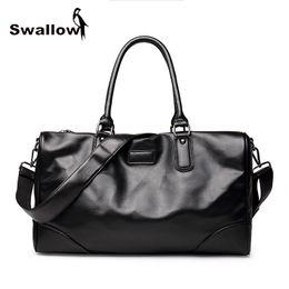 $enCountryForm.capitalKeyWord Canada - SWALLOW Fashion Leather Travel Bag Large Capacity Men's Handbag 17 inch Leather Crossbody Bag Casual Tote Luggage Weekend