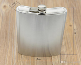 Discount aluminum travel - Silver Hip Flasks With Funnel Metal Stainless Steel Flagon For Outdoor Travel Climb Stoup Portable Small Tide 18bz cc