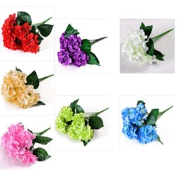 China Simulation flower simulation plant 6 hydrangea flowers wedding bouquets Celebration ceremony decoration hall artificial flower flowers supplier hydrangea flowers yellow suppliers