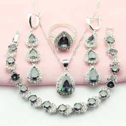 $enCountryForm.capitalKeyWord Australia - olorful jewelry sets WPAITKYS Multicolor Cubic Zirconia Silver Color Jewelry Sets For Women Drop Earrings Bracelet Necklace Ring Free Gif...