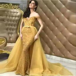 $enCountryForm.capitalKeyWord Australia - Elegant 2019 Gold Lace Sequins Shiny Mermaid Evening Dresses With Detachable Overskirts Sweetheart Off Shoulder Beaded Prom Celebrity Dress