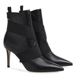 $enCountryForm.capitalKeyWord UK - Black High Heel Pointy Toe Basic Ankle Boots for Women Elastic Band Slip on Booties Ladies Autumn Heels Shoes Plus Size 2018