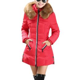 Warm Womens Jackets Canada - 2017 Autumn Real Fur Collar Parka Warm Coon Womens Hooded Winter Coats And Jackets Plus Size 3XL 4XL Manteau Fourrure Femme