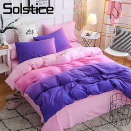 Pink Green Girls Bedding Canada - Solstice Home Textile Purple Pink Bedding Set 3 4Pcs Bedlinen Duvet Cover Pillowcase Bed Sheet Girl Kid Teenage Woman Bedclothes