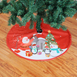 red event decor 2019 - Christmas Plush Red Cartoon Printed Round Tree Skirts Fur Carpet Xmas Decoration New Year Home Outdoor Decor Event Party