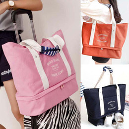 canvas shoe bags wholesale NZ - Wholesale Multi Functional Fashion Shoes Bag canvas travel storage bag ladies large capacity trolley shoulder bag