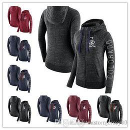 Full Zip Jacket Polyester Australia - Sports Outdoor Wear Jackets Diamondbacks Braves Orioles Sox Reds Rockies Tigers Astros Women's Vintage Full-Zip Hoodie