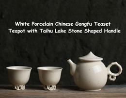 teapot 2019 - Portable Travel White Ceramic Porcelain Gongfu Teaset Teacup Cup Pot Teapot with Taihu Lake Stone Handle Teaware Ceremon
