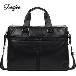 Discount male laptop bags - DANJUE Genuine Leather Handbag Men Can Fit 14'' Laptop Bag Classic Black Briefcase Male Messenger Bag Leather
