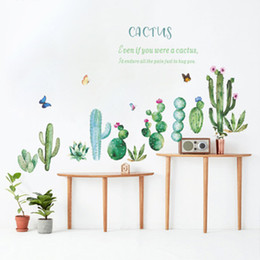 sticker wall borders NZ - Cartoon Cactus Potted Plants Stickers Green Plants Butterfly Wall Mural Poster Art Wall Border Decals Home Decor Wallpaper Wall Decals
