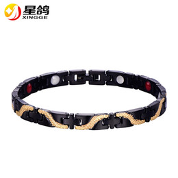 gold dragon charms 2019 - New Design black Health care Bracelet stainless steel Energy Magnetic Therapy Bracelet for men Charm Dragon Wristband ch