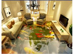 $enCountryForm.capitalKeyWord NZ - Self-adhesive 3D wallpaper customized 3D floor painting wall paper 3D super real Chinese style floor painting underwater Koi fish home decor