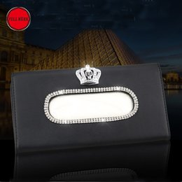 $enCountryForm.capitalKeyWord Australia - Crown Swan Crystal Car Tissue Box for Sun Visor PU Leather Auto Hanging Tissue Box Holder Sunshade Case Car Accessories