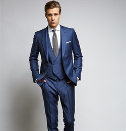 $enCountryForm.capitalKeyWord Canada - Custom Made Royal Blue Wedding Suits For Man Two Buttons Slim Fit Grooms Tuxedo Three Pieces Cheap Party Suit(Jacket+Pants+Vest)