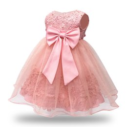 f045f672cef7 Vintage Lace Sleeveless Pink Baby Girl Dress for 1 Year Birthday Party Dress  6-12-18-24M Wedding Party Gown kids Infant Dresses