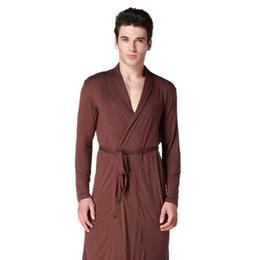 Coffee Men Kimono Bathrobe Gown Long Sleeve Robe Nightgown Summer Casual  Sleepwear Modal Pijamas Nightwear Size L XL XXL 02087f699