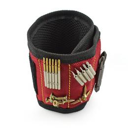 Nueva bolsa de herramientas portátil de pulsera de poliéster correa magnética herramienta de la muñeca del electricista tornillos de la correa clavos pedacitos herramientas de reparación del titular