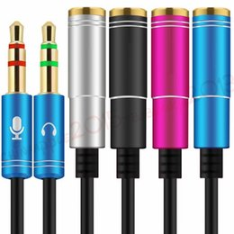 female extension cable 2019 - 3.5mm AUX Alloy Cable with Mic Audio Y Splitter Adapter 3.5mm female to 2 Port male Aux Extension Cable for Tablet Pc La