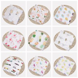 gauze towels NZ - Muslin Baby Blankets Cotton Newborn Swaddling Bath Gauze Infant Wrap Swaddles Kids Sleepsack Stroller Cover Play Mat 72 Designs YW1387