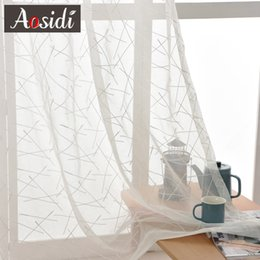 $enCountryForm.capitalKeyWord NZ - New Geometry White Embroidery Tulle Curtains for the Living Room modern Sheer Curtain for Bedroom Window Blind Voile Custom Size