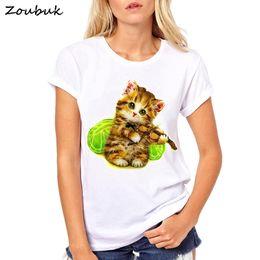 $enCountryForm.capitalKeyWord Australia - Cute Guitar Cat design t shirt women fashion summer O-neck tops tee white kawaii kitten print tshirts girls t-shirt plus size
