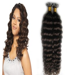 wholesale fusion human hair extensions Australia - U Tip Hair Extension Keratine Capsules Fusion Hair Kinky Curly Machine Made Remy Pre Bonded 100g strands keratin human hair extension