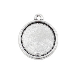 Frame Antique UK - 50pcs lot Alloy Antique Silver Cameo Glass Cabochon Frame bezel Settings, Double side Charm with Single Ring fit 18mm K04005