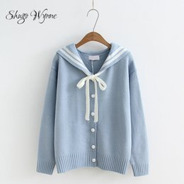 Shugo Wynne 2018 Autumn Winter New Women Cute Japanese Style Sailor Collar Lacing Long Sleeve Sweater Casual Knit Cardigan Coat