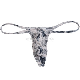 мужские ремни оптовых-Sexy Men s Newspaper Micro Thong Underwear Male Penis Pouch String Tangas Guy T Back