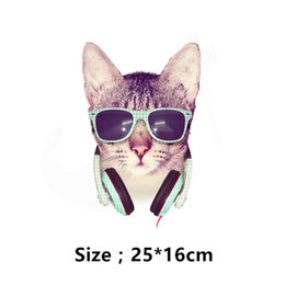 $enCountryForm.capitalKeyWord NZ - Free shipping New design Beautiful cat listeining music iron on patch T-shirt Sweater thermal transfer paper patches for clothing