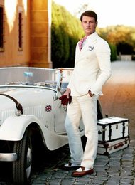 Ivory Linen Suit Canada - Ivory Slim Fit Linen Men Suits Wedding Groom Tuxedos 2 Pieces (Jacket+Pants) Groomsmen Bridegroom Suits Prom Wear Blazer