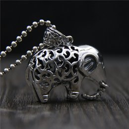 925 Marcasite Sterling Silver NZ - hip hop jewelry 925 sterling silver elephant pendant Vintage marcasite ladies hollow elephant sweater chain necklace pendant china goods