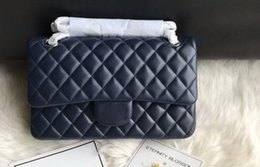 Wholesale DHL Free Ship A01112 cm Silver Metal Hardware Lambskin Quilted Classic Flap Handbag Come with Dust Bag Box
