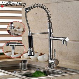 Faucet Kitchen Shower Australia - Pull Down Chrome Spring Kitchen Faucet Dual Spouts 360 Swivel Handheld Shower Kitchen Mixer Crane Hot Cold 2 Outlet Spring Taps